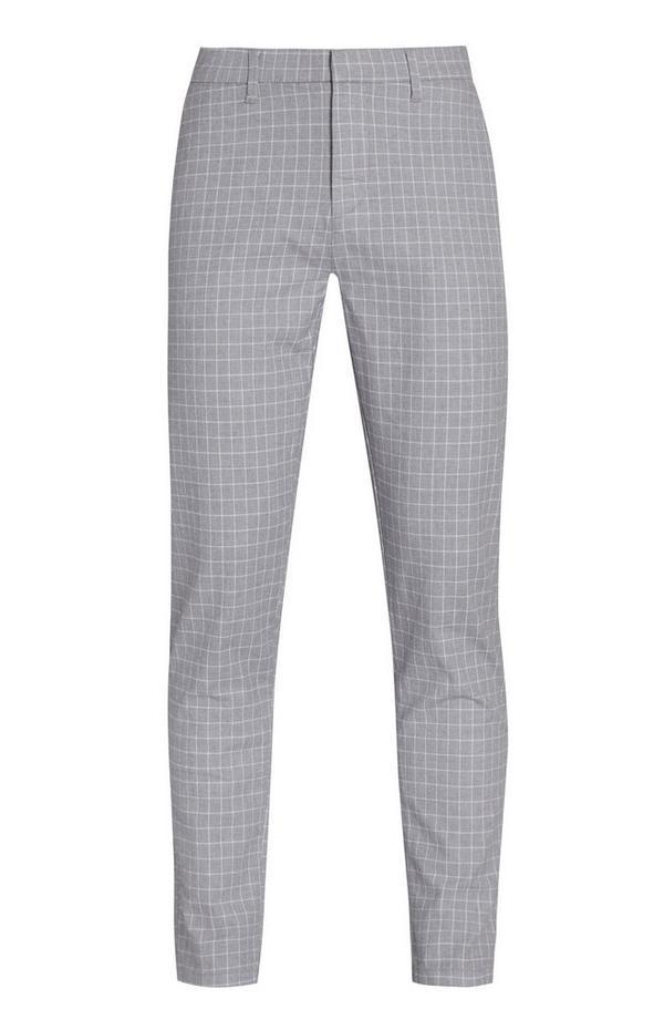 Pantalon slim gris clair à carreaux