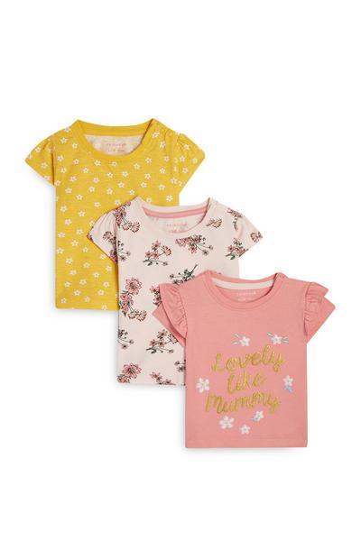 Gebloemde baby-T-shirts voor meisjes, 3 st.