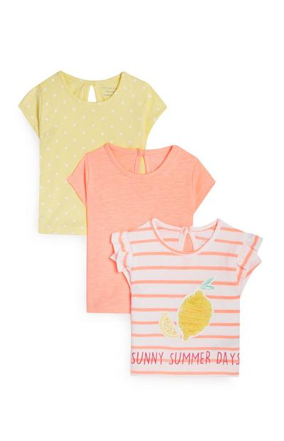 Baby Girl Yellow And Coral T-Shirts 3Pk
