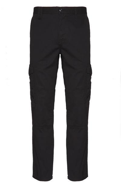 Črne delavske hlače z žepi na stegnih
