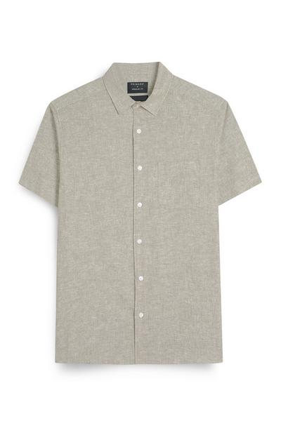 Stone Short Sleeve Button Up Linen Shirt