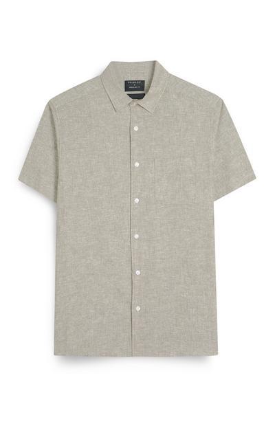Camicia grigia regular fit in lino con bottoni