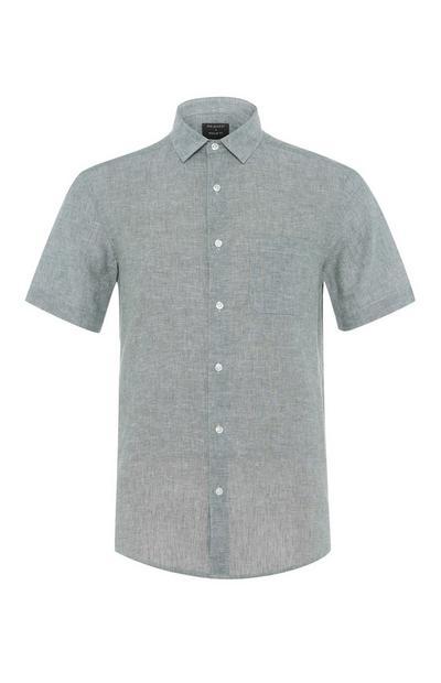 Camicia blu navy regular fit in lino