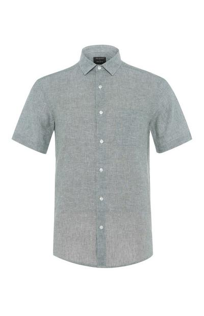 Green Short Sleeve Button Up Linen Shirt