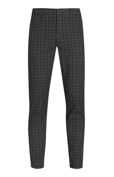 Grey Slim Check Trousers