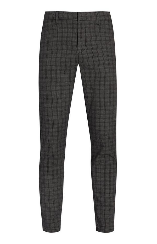 Gray Slim Check Pants