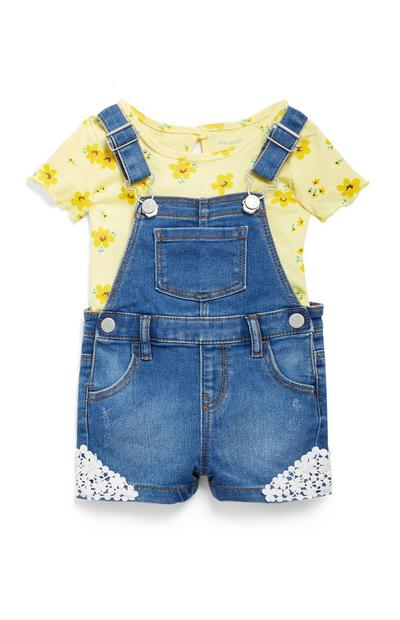 Baby Girls Crochet Dungaree Set