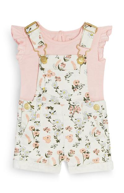 Baby Girl Floral Dungaree Set