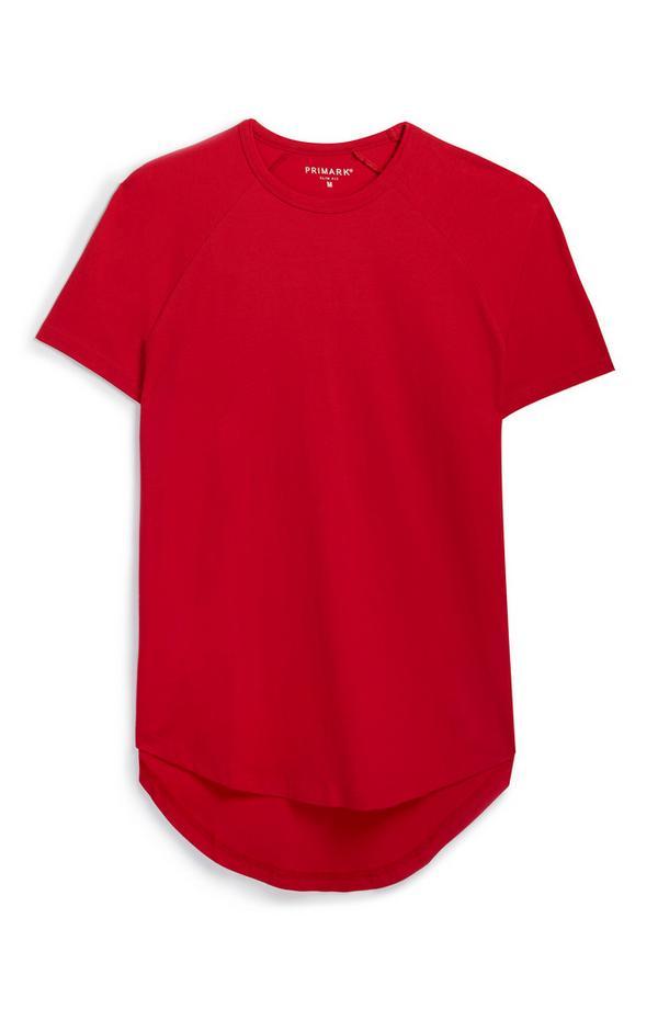 Rotes Bio-T-Shirt mit geradem Schnitt