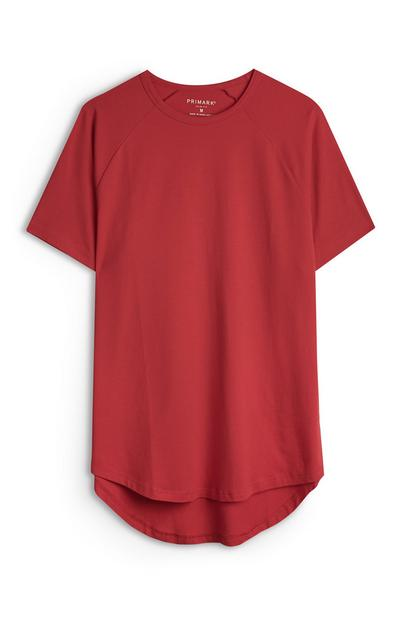 Lang T-shirt met stretch, rood