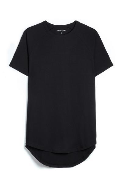 Longline Black Stretch T-Shirt