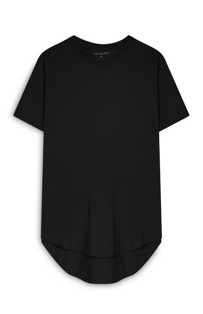 Black Stretch Longline T-Shirt