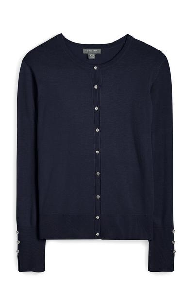 Navy Crew Neck Button Up Cardigan