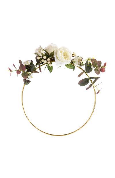 Ornamento redondo flor artificial branco