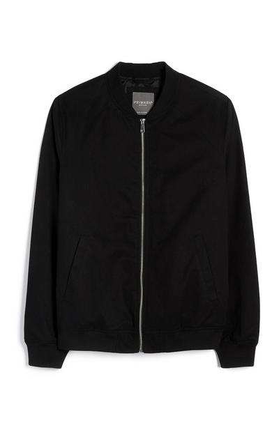 Black Bomber Zip Up Jacket