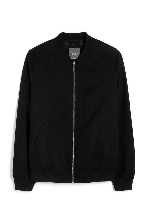 Črna pilotska jakna z zadrgo