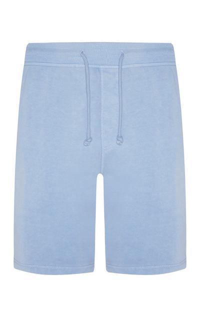 Pantalón corto de chándal en punto de color azul claro