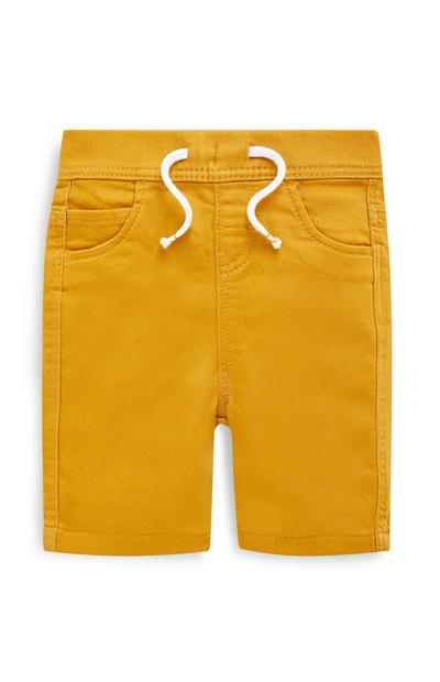 Baby Boys Yellow Pull On Knitted Shorts
