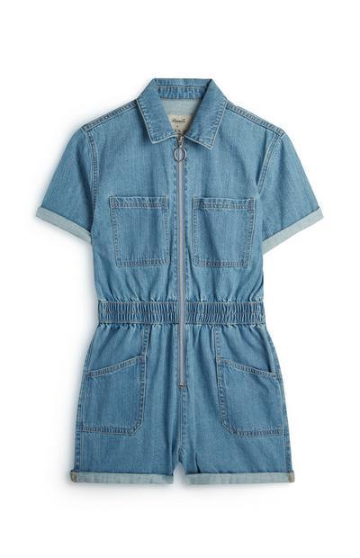 Blue Denim Short Boilersuit