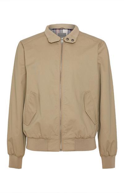 Beige Cotton Zip Jacket