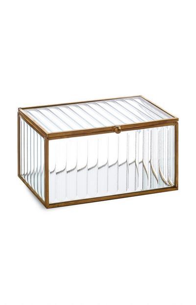 Caixa vidro textura acabamento bronze