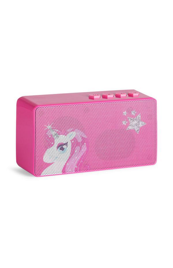 Kabelloser, rosafarbener Lautsprecher mit Einhorn-Print