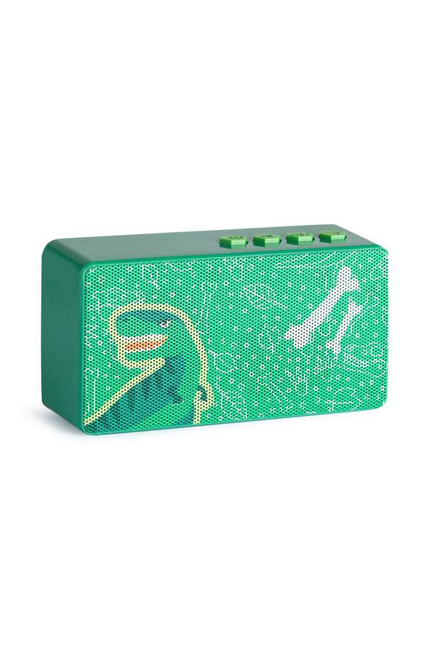 Kabelloser, grüner Lautsprecher mit Dino-Print