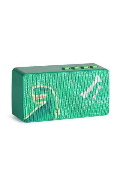 Altavoz verde sin cable con dinosaurio