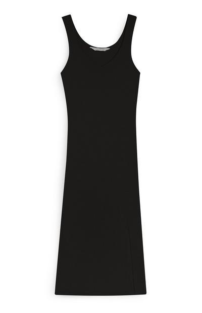 Vestido negro de punto de canalé con escote de pico