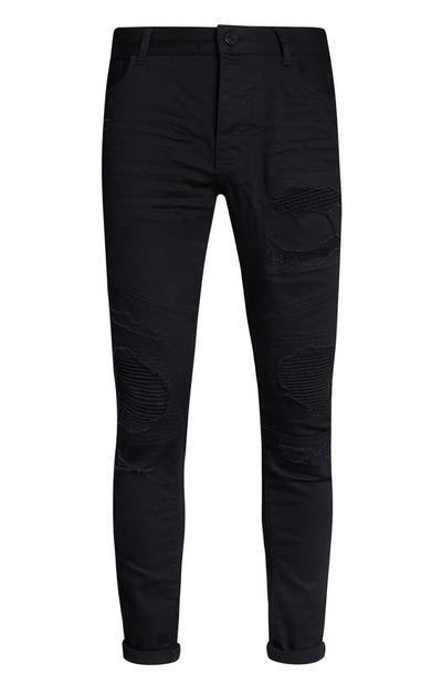 Schwarze Biker-Jeans mit Bündchen