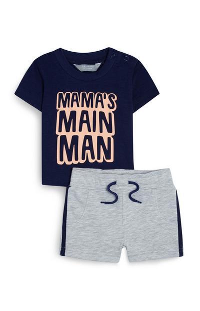 Camiseta azul marino con mensaje y pantalón corto para bebé niño