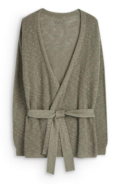 Olive Belted Cardigan