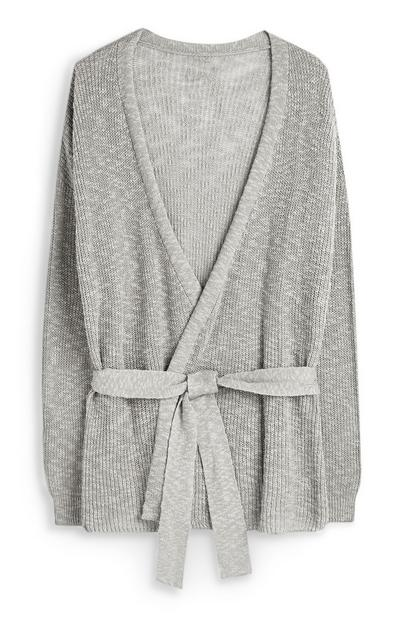 Gray Belted Cardigan