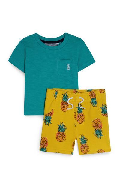 Baby Boy Green And Yellow PineapplePrint Set