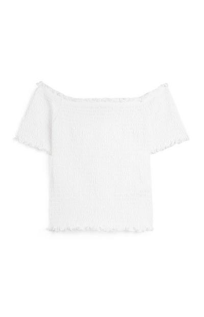 Blusa bardot pregas rapariga branco