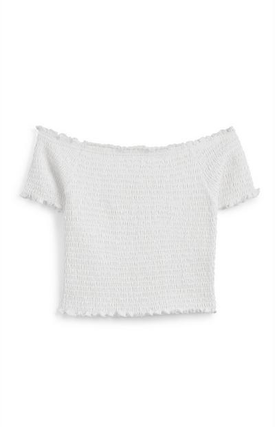 Older Girl White Bardot Shirred T-Shirt