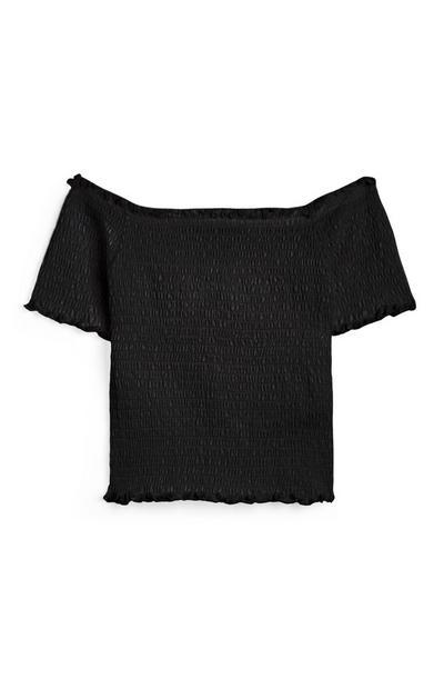 Older Girl Black Bardot Shirred T-Shirt