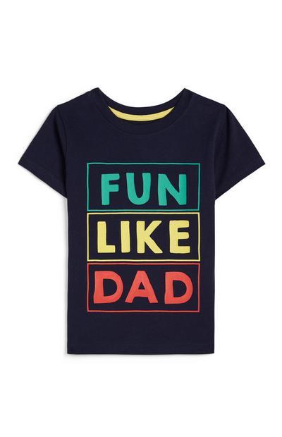 Donkerblauw baby-T-shirt met tekst in verschillende kleuren, jongens