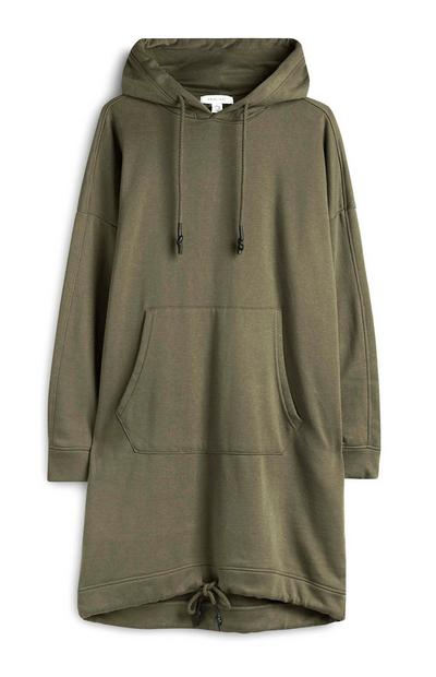 Robe sweat-shirt kaki à capuche