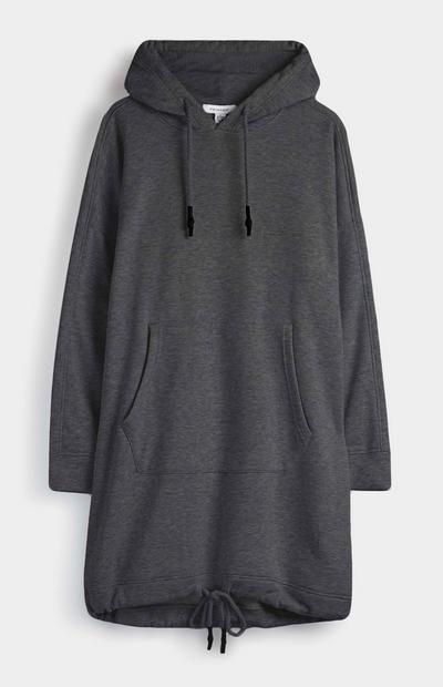 Robe sweat-shirt anthracite à capuche