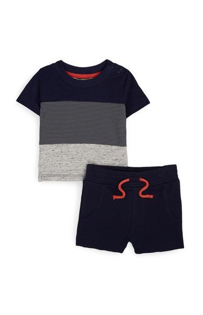 Baby Boy Grey And Navy T-Shirt And Shorts Set