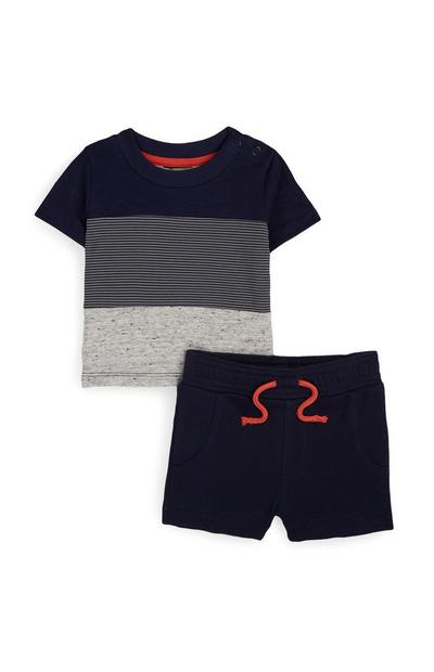 Baby Boy Grey And Navy T-Shirt And Shorts Set