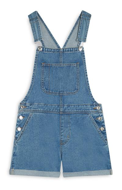 Salopette courte bleue en denim