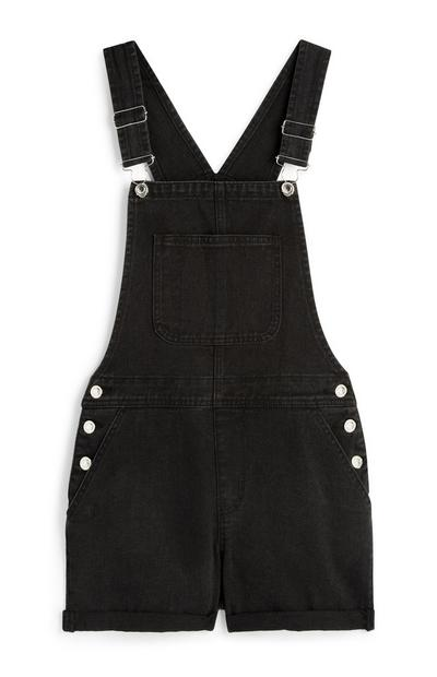 Black Dungaree Shorts