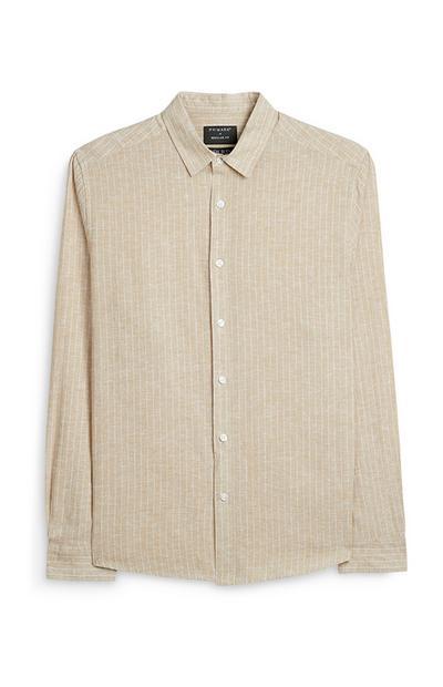 Camisa manga comprida linho cru