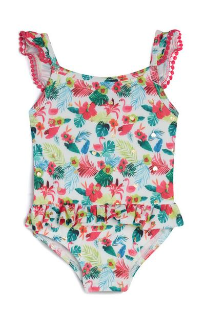 Baby Girl White Tropical Swimsuit