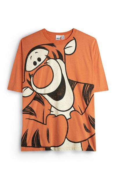 Camiseta naranja con dibujo animado de tigre