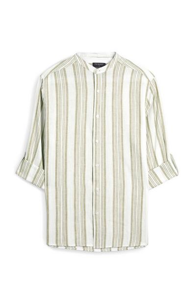 Khaki And White Striped Rolled Sleeve Shirt