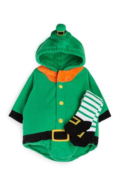 Newborn Green St Patricks Day Leprechaun Suit And Tights