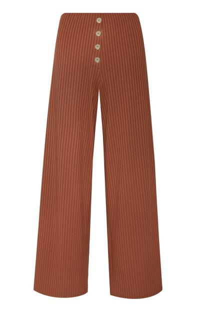 Mocha Button Front Ribbed Pants